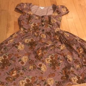 Purple floral babydoll cap sleeve dress